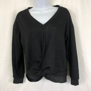 Lush Black Twisted Front Sweater